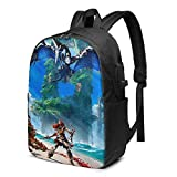 ADFSHIDS Ho-rizon -Forbidden West Printed Fashion Trend Backpack With Usb Port For Office Outdoor Travel School Black