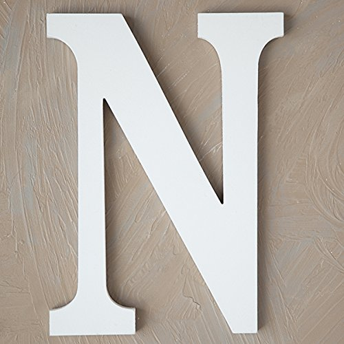 "The Lucky Clover Trading N Wood Block, 14"" L, White Wall Letter"