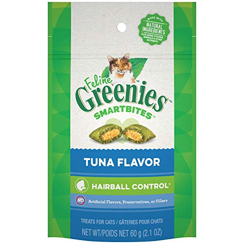 FELINE GREENIES SMARTBITES Hairball Control Natural Treats for Cats Tuna Flavor 2.1 oz.