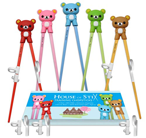 House of Stix Training chopsticks - 5 Pairs premium quality chopstick set for kids adults and beginners with attachable learning chopstick helper - right or left handed
