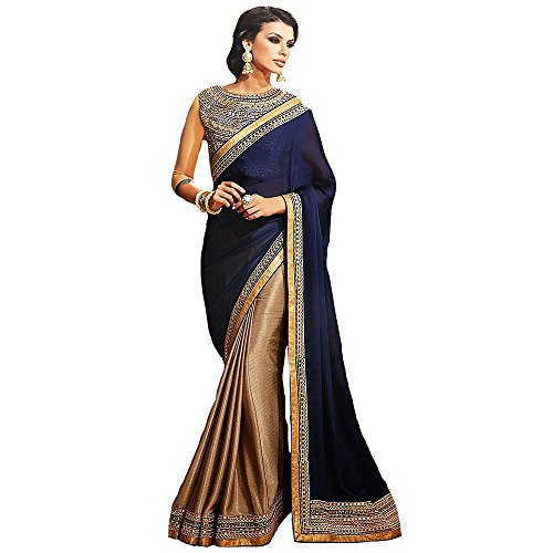 Shree Designer Sarees Women's Repute Brown & Navy Blue, Brown, Size One Size