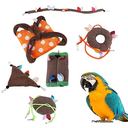 Hangmat Hamster, 6PCS Flanellen Papegaai Katoen Nest Hangende ketting Swing Tunnel Kabelbaan Hangmat Slaapbed Vogelblad Speelgoed voor kleine huisdieren(6 delige set)