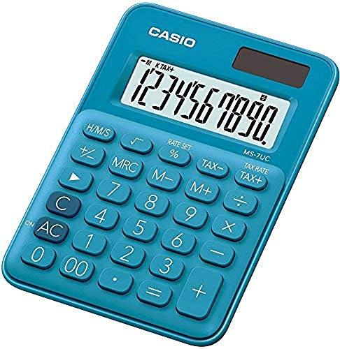 Casio MS-7UC-BU Mini Tischrechner in Trendfarbe, 10-stellig, in drei Farbvarianten
