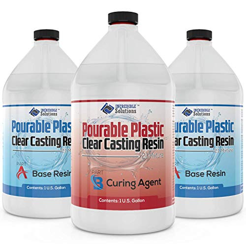 """Pourable Plastic Deep Pour Up To 2"""" Thick USA Manufactured Clear Casting Resin 3 Gallon(2 Gallons Resin + 1 Gallon Curing Agent) Kit Perfect For River Tables & Castings – Low Odor Epoxy, a 2:1 Ratio"""