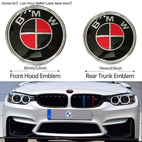 2pcs BMW Black and Red 82mm Hood Emblem/74mm Trunk Emblem, Emblems Replacement for BMW X3 X5 X6 3 4 5 6 7 8 series 325i 328i E46 E30 E36 E34 E38 E39 E60 E65 E90