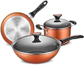 CPWJD Frying Pan, Frying Pan And Wok, Pot Set, Wok Nonstick Pan Set Pot Frying Pan Soup Pot Three Piece Set Flat Bottom Co...