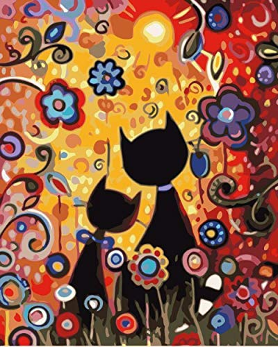Diy Öl Malen nach Zahlen Kit Lacke romantische Zeichnung mit Pinsel Dekorationen Geschen - Deux chats mignons sous les fleurs-40x50cm mit Rahmen