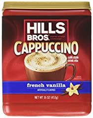 Hills Bros. Cappuccino #1 flavor! Refreshing, creamy vanilla taste in a base of light coffee. It's everyone's favorite! Also availabe in fat-free and sugar-free Add it to your coffee as a substitue for cream and sugar Buy in bulk and save!