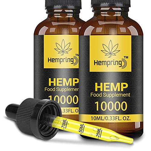 Hemp Natural Oil, Vegan & Vegetarian Friendly, Made in USA(2p(10000/10ml))