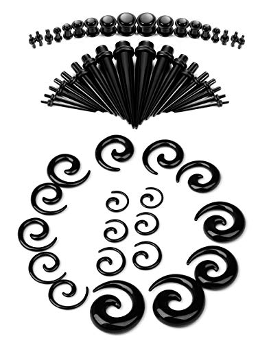 LOYALLOOK Ear Stretching Kit 54PCS Acrylic Tapers and Plugs Spiral Tapers Tunnels 14G-00G Ear Stretching Starter Black