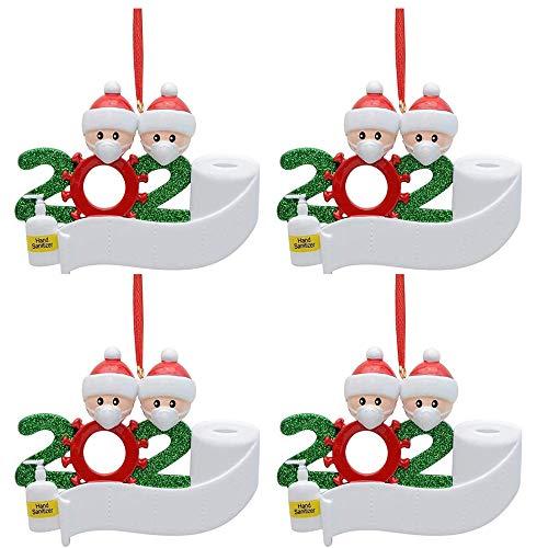 4 piezas de adornos para árboles de Navidad familiares 2020, decoraciones navideñas personalizadas, nombre personalizado de bricolaje, recuerdo 2020 para la víspera de Navidad, regalo familiar de Navi