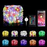 Tarister USB Guirnalda Luces RGB, con [APP Control] y [Remote Control], 10M 100 LED Fairy Light Outdoor con 16 modos, Fairy...