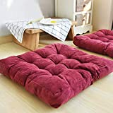 EGOBUY Solid Square Floor Pillow Tufted Thicken Chair Pad Tatami Thicken Seat Cushion, 22x22 Inch, Wine Red
