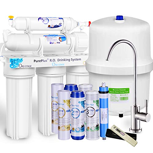 PurePlus 5-Stage NSF 58 Certified RO Reverse Osmosis Drinking Water Filtration System, 80 GPD Stable Flow, Nickel Faucet, LG Original Membrane, Plus Half Year Under Sink Filters, USA Tech Support