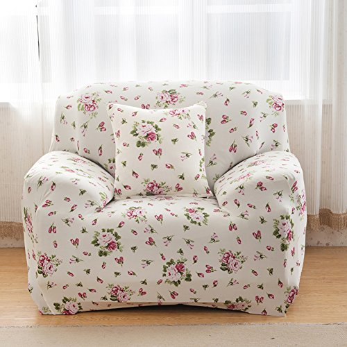 Sofa für 1-Sitzer-Sofa Schonbezug Stretch Elastic Pet Dog Polyester-Couch Displayschutzfolie-Soft Couch Cover Floral Print Bettüberwurf, white rose, 1 seater