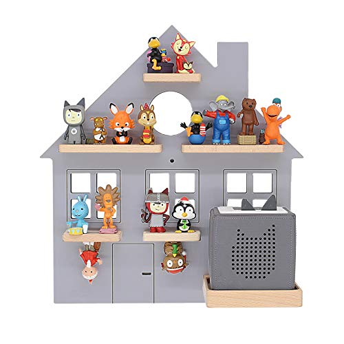 BOARTI Kinder Regal Haus small in Grau - geeignet für die Toniebox und ca. 25 Tonies - zum Spielen und Sammeln