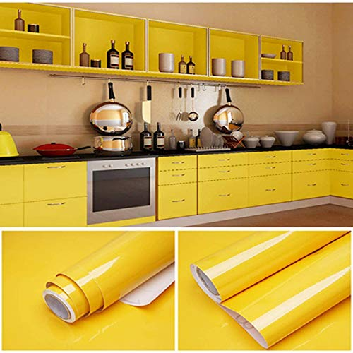 Yellow Peel and Stick Wallpaper Self Adhesive Vinyl Decorative Film for Kitchen Countertops Cabinets Wardrobe Furniture (15.8' X 78.8')