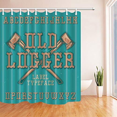 LRSJD etiketten decoratieve houten bijl in blauw douchegordijn polyester stof badkamergordijnen met haken, 71 x 71 inch
