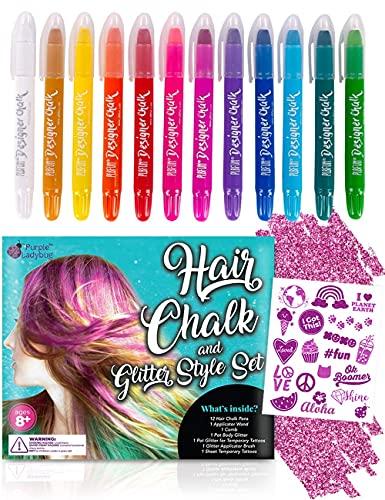 PURPLE LADYBUG 12 Kreide Haarfarben für Mädchen mit Glitzer Tattoo Set Kinder – Auswaschbare Haarkreide für Kinder und Jugendliche – Einfach Anzuwenden – Coole Sachen für Kinderfeiern oder Kostüme