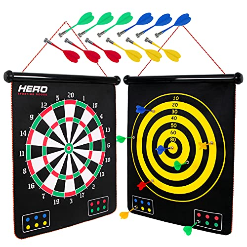 Magnetic Dart Board - Double Sided Dart Game For Kids And Adults - 12pcs Magnetic Darts, Safe And Strong - Indoor Outdoor Games - Family And Kids Darts Game - Take It Anywhere - Sports Toys And Gifts