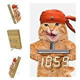 Fitness Cat Lifting A Heavy Big Dumbbell Home Automatically Brightness Dimmer Clock LED Alarm Clocks