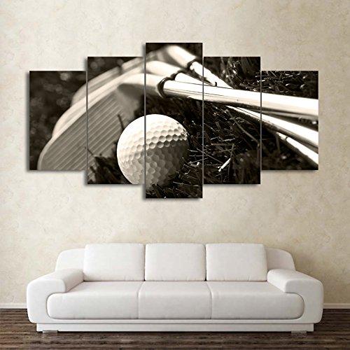 MCZQT Hd gedrukt 5 stuks canvas kunst golfclubs en bal afbeelding schilderij wandafbeeldingen voor de woonkamer 40x60cmx2 40x80cmx2 40x100cmx1