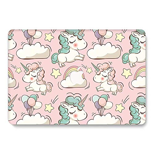 MacBook Air 13 inch Case A1466 A1369, Jiehb MacBook Protection Case Only Compatible 2017-2010 Release Old MacBook Air 13 inch (NO Touch ID) Model: A1466 and A1369 - Unicorn Pink