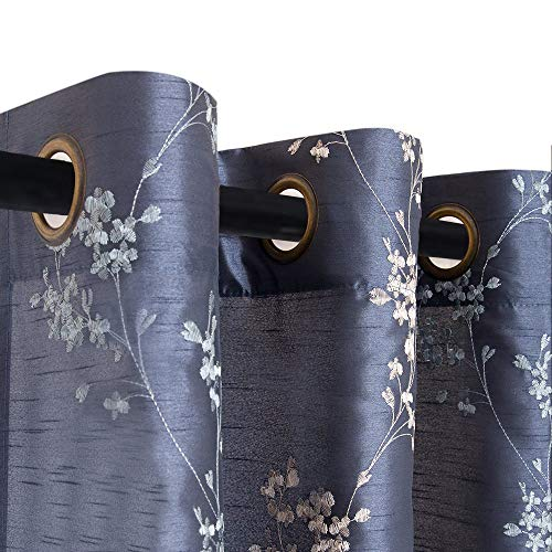 jinchan Faux Silk Floral Embroidered Grommet Top Curtains for Living Room Embroidery Curtain 84 inch Length for Bedroom, 2 Pieces, Slate Blue