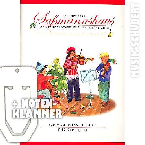 Weihnachtsspielbuch für Streicher inkl. praktischer Notenklammer - 27 weihnachtliche Melodien in leichten Sätzen für jüngste Streicherensemble passend zum Schulbuch FRÜHER ANFANG AUF DER GEIGE/BRATSCHE/CELLO (broschiert) von Egon Saßmannshaus (Noten/Sheetmusic)
