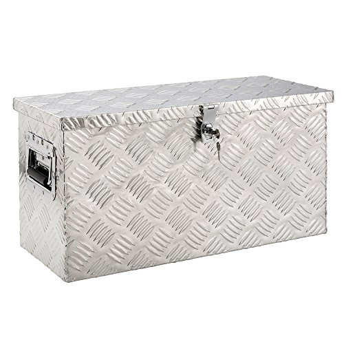 Arebos Aluminium Werkzeugbox mit Schloss | Deichselbox | 40 Liter | 60 x 25 x 30 cm | Inkl. Moosgummidichtung | Silber