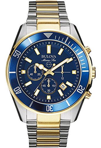 Bulova Men's Designer Chronograph with Watch Stainless Steel Bracelet - Water Resistant Blue Gold Marine Star 98B230