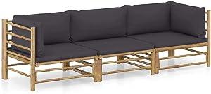 vidaXL Garden Lounge Set 3 Piece with Dark Gray Cushions Outdoor Patio Balcony Backyard Terrace Seating Sofa Seat Home Furniture Bamboo