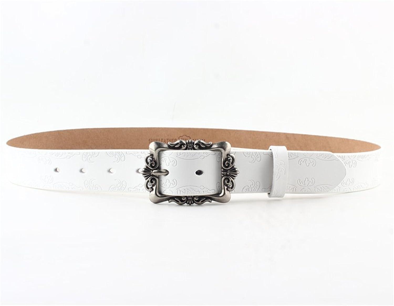 Canvas Belt Women's Belt Retro Court Embossed Leisure Pin Genuine Leather Belt Girdle Girdle (color   White)
