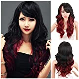 KRSI Ombre Red Synthetic Wigs for Black Women Dark Roots Long Natural Wavy Full Synthetic Hair Wigs For Women Side Parting With Bangs Heat Friendly Replacement Wigs 24 Inches (Ombr 1B/Red)