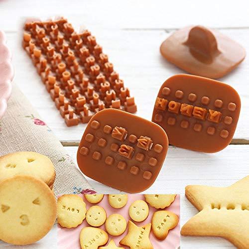 FEIYI Moldes para cortar galletas y galletas, moldes de prensa, moldes para hacer manualidades, tartas, galletas, mini hornear, letra del alfabeto