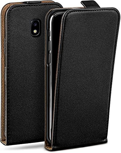 moex Flip Hülle für Samsung Galaxy J5 (2017) - Hülle klappbar, 360 Grad Klapphülle aus Vegan Leder, Handytasche mit vertikaler Klappe, magnetisch - Schwarz