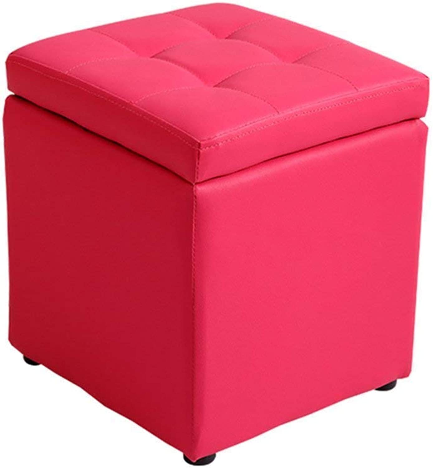 ChenDz Cute Stool Creative Leather Stool Fitting Room Change shoes Stool Sofa Stool Hall wear shoes Bench Large Space Storage Stool Storage Bench PU Leather seat Living Room red