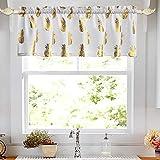 oremila Kitchen Curtain Valance for Small Windows 56' x 15' Metallic Print Golden Pineapple Valance for Bathroom Window, Rod Pocket, 1 Pack