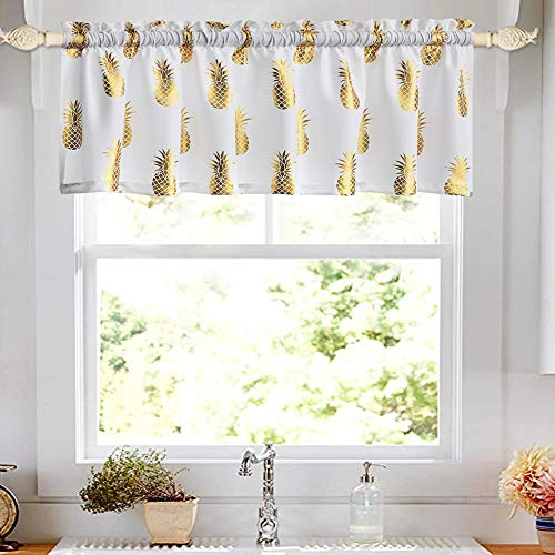 oremila Kitchen Curtain Valance for Small Windows 56' x 15' Metallic Print Golden Pineapple Valance for Bathroom Window, Rod Pocket, 1 Pack