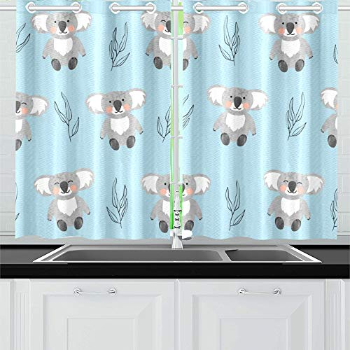 "Kitchen Curtains Pattern Cute Koala Bears Window Drapes 2 Panel Set for Kitchen Cafe Decor, 52"" X 39"", Best Window Curtains"