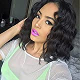 Wavy Human Hair Wig Black Bob Wigs Short Body Wave Glueless Lace Part Wigs Human Hair Middle Part Brazilian Natural Human Hair Wigs for Black Women(14 inch with 150% density)