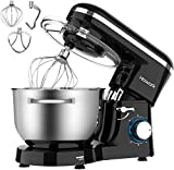 HOWORK Stand Mixer, 660W Electric Kitchen Food Mixer With 6.55 Quart Stainless Steel Bowl, 6-Speed Control Dough Mixer With Dough Hook, Whisk, Beater (6.55 QT, Black)