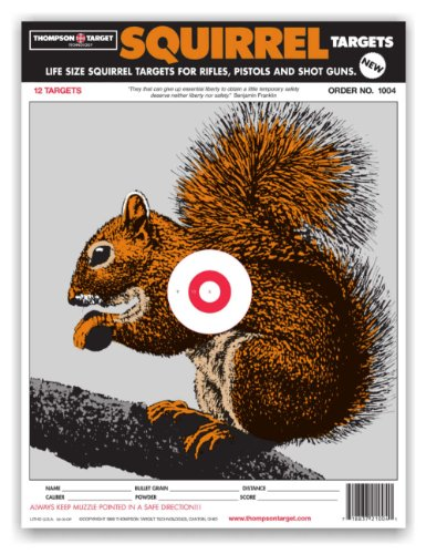 Life Size Squirrel - Paper Hunting Shooting Targets 9x12 Inch (12 Pack)