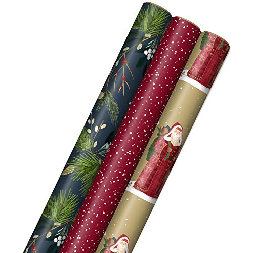 Hallmark Paper with Cutlines on Reverse (3 Rolls: 120 sq ft TTL) Nature Gift Wrap, Tri-Pack, Navy Foliage, Red, and Father Christmas