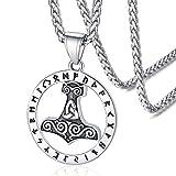 FaithHeart Martillo de Thor Colgantes Redondos para Hombres y Mujeres Acero Inoxidable 316L Joyería de Estilo Vintage Cuervos Collares Espirituales de Amuleto de Protección Nórdico