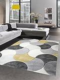 CARPETIA Alfombra de diseño de la Sala de Estar Alfombra de Pelo Corto Gotas de Mostaza Amarilla Crema Gris Größe 200 x 290 cm