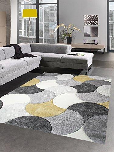 CARPETIA Tapis de Salon Design Tapis Court Pile Gouttes Moutarde Jaune Gris crème Größe 80x150 cm
