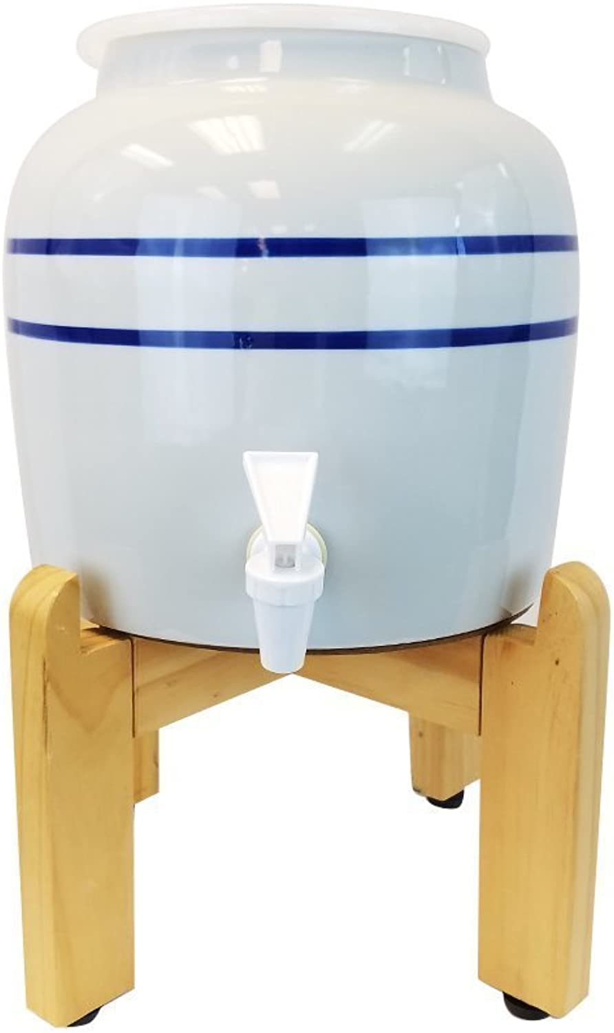 bluee Stripe Porcelain Water Crock Dispenser with a Wood Stand Fits 3 Gallon, 4 Gallon or 5 Gallon Drinking Water Bottles For Your Table or Countertop