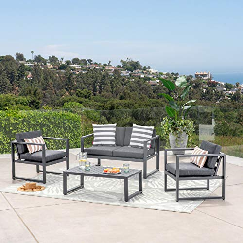 GDF Studio 297269_New Nealie Patio Furniture ~ 4 Piece Outdoor Aluminum Chat Set (Dark Grey)