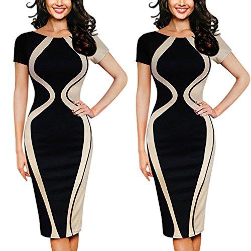 Fcostume Damen Etuikleid Business Kleider Bodycon Cocktailkleid Bleistiftkleid Geschäft Figurbetonte Knielang Kleider